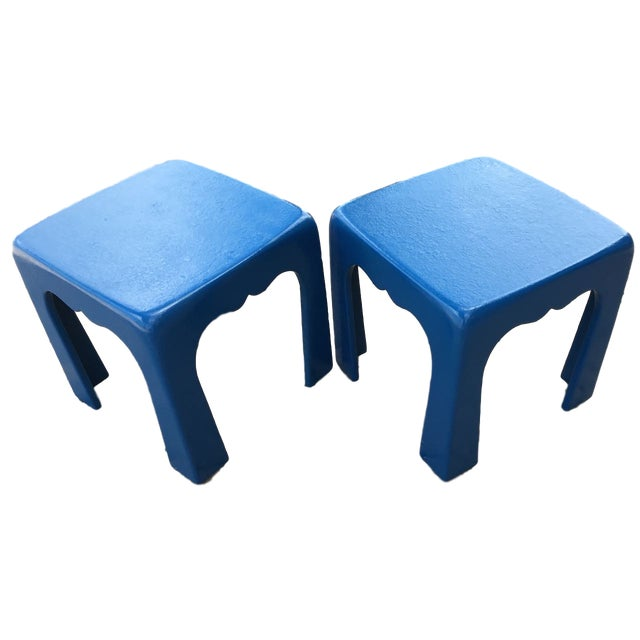 Vintage Blue Fiberglass Occasional Tables - A Pair For Sale - Image 13 of 13