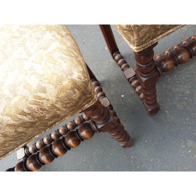 Gold Antique Fortuny Fabric Hall Chairs - a Pair For Sale - Image 8 of 11