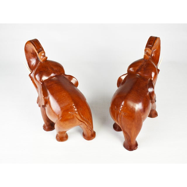 Wood Vintage Hand Carved Trunk Up Lucky Elephant Figurines - a Pair For Sale - Image 7 of 9