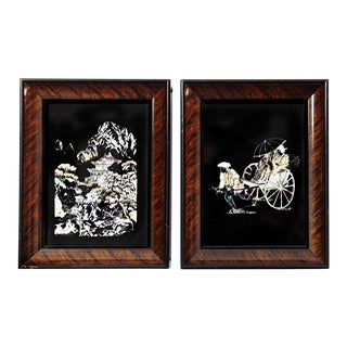 Vintage Mother of Pearl Miniature Prints - A Pair For Sale