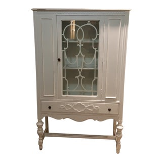 1920s Shabby Chic China Cabinet Hutch Linen Closet/Pantry Storage Display Case For Sale