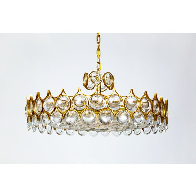 Palwa Large Circular Palwa Gilt Brass and Optical Lens Crystal Chandelier (2 Available) For Sale - Image 4 of 12