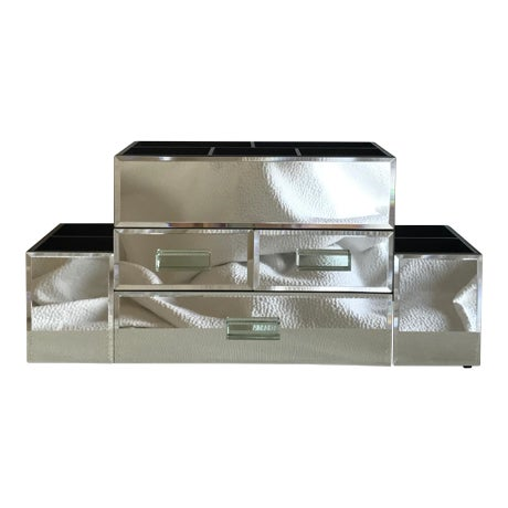 Pottery Barn Large Mirrored Makeup Organizer Box With