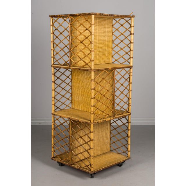Mid-Century French Riviera Bamboo & Rattan Bookcase For Sale - Image 11 of 11