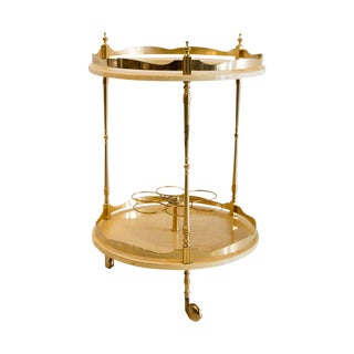 Circular Italian Bar Cart in Cream Colored Lacquered Goatskin by Aldo Tura, Italy 1950's For Sale