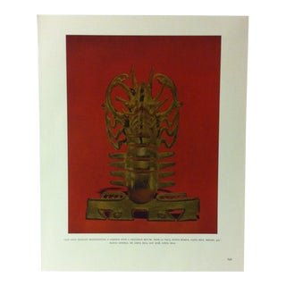 """Circa 1960 """"Cast Gold Pendant Representing a Lobster With a Crococile Mouth"""" Treasures of Ancient America Mounted Print For Sale"""