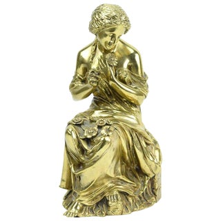 19th Century Gilt Bronze Sculpture Classical Woman Plucking Petals From Flower For Sale