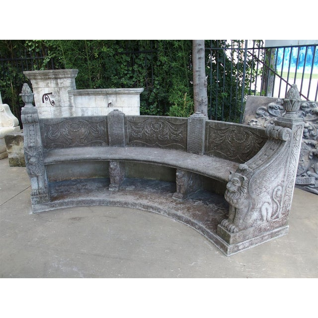 A Large Semi Circular Carved Limestone Griffins Bench - Image 9 of 11