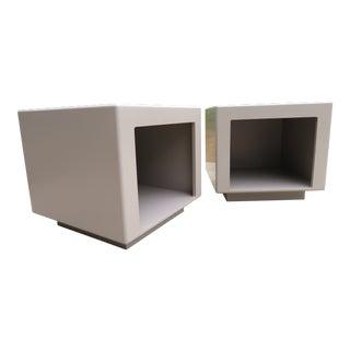 Vintage Modernist Plinth Base Cubed Side Tables - a Pair For Sale