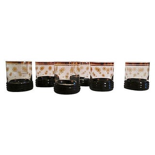 Gold Snowflake Lowball Glasses - S/6 For Sale
