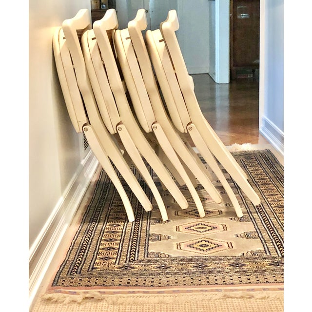 Caned Backed Neutral Colored Stackmore Folding Chairs - Set of 4 For Sale - Image 10 of 12
