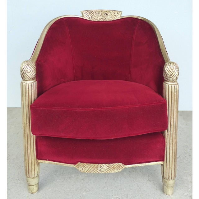 Wood Paul Follot French Art Deco Settee and Bergères Set For Sale - Image 7 of 13