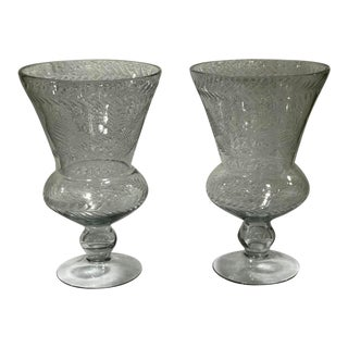 Pair of Art Deco Crystal Vintage Etched Glass Candle Holders/ Vases For Sale