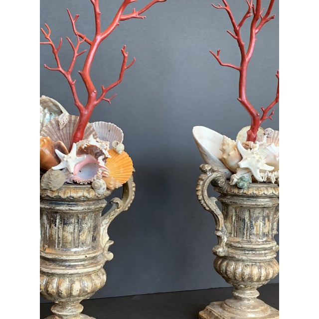 Baroque-Style Carved Silver Gilt Urns With Shell & Faux Coral Composition - a Pair For Sale - Image 11 of 12