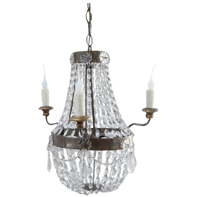 Petite Italian Crystal Chandelier For Sale