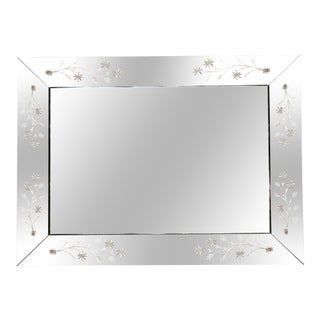Extra Large Venetian Etched Beveled Wall Mirror For Sale