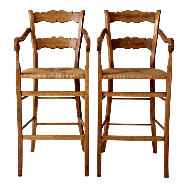 Vintage High Back Bar Arm Stools - A Pair - Image 1 of 7