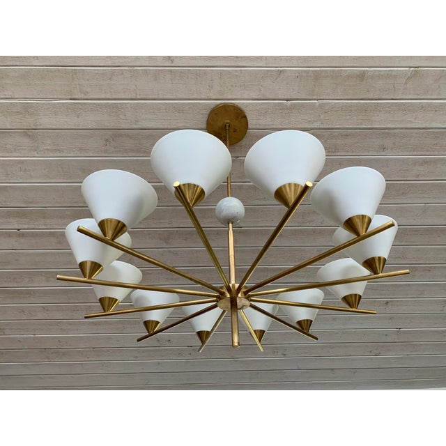 Metal Contemporary Brass Chandelier - Cleo For Sale - Image 7 of 7