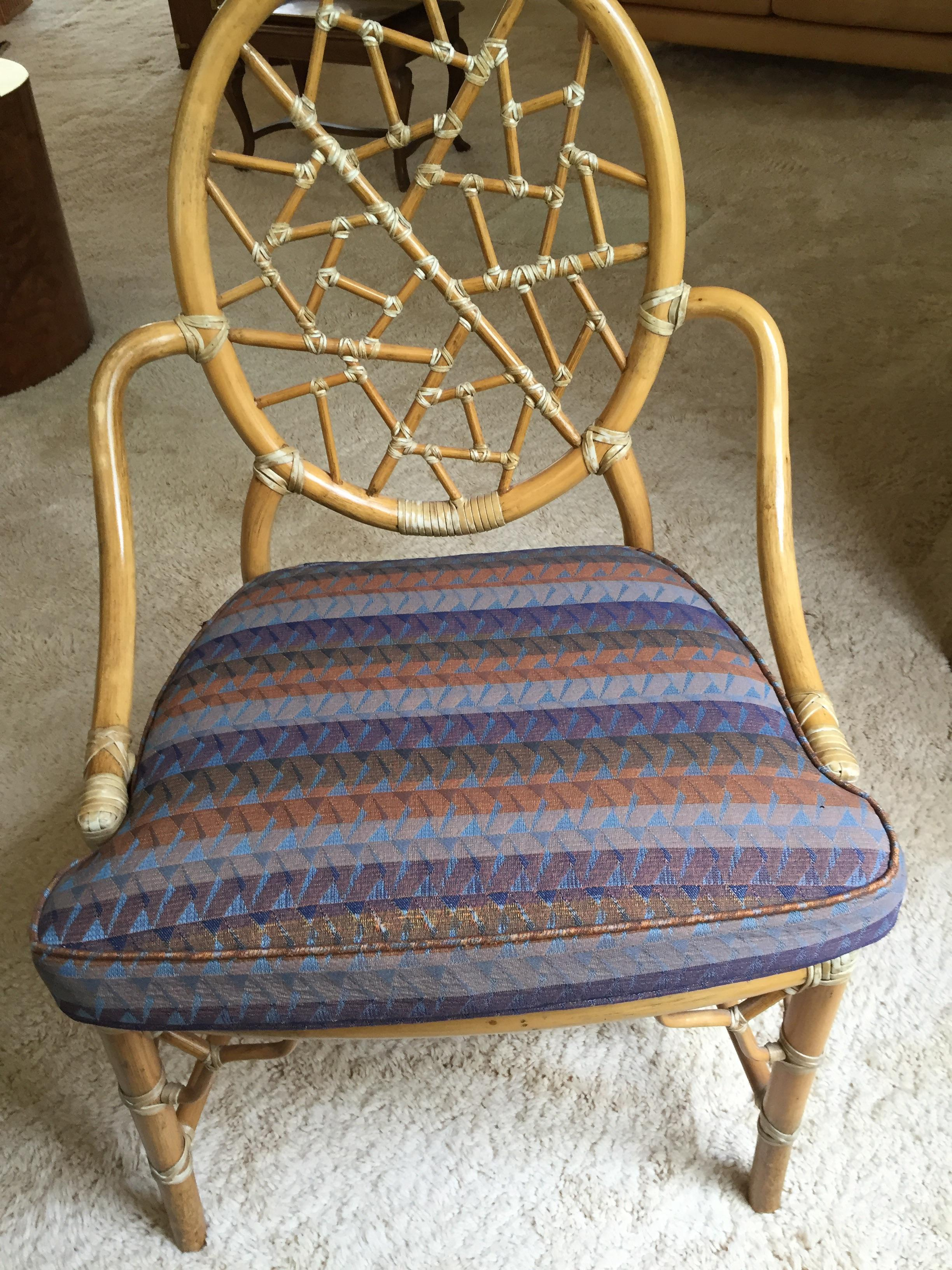 Vintage McGuire Cracked Ice Rattan Chair   Image 7 Of 7