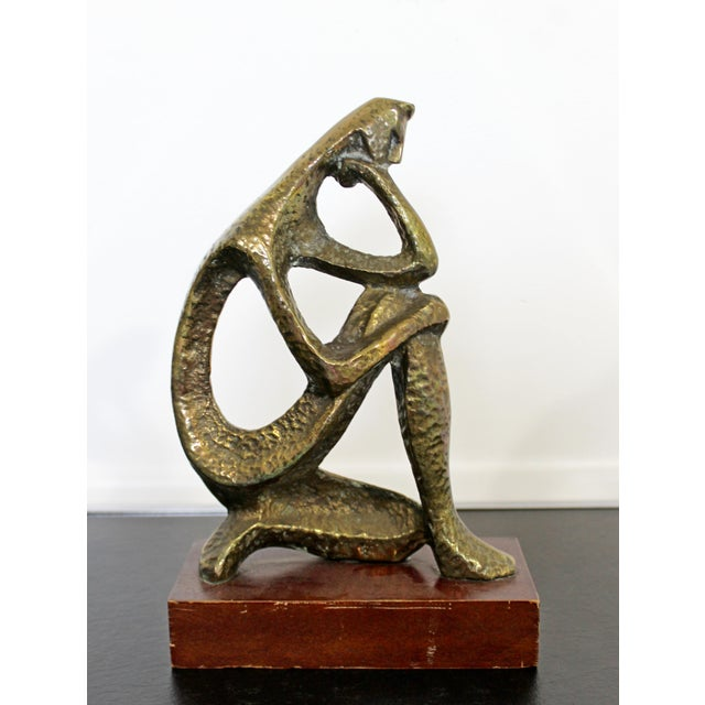 Mid Century Modern Bronze Table Sculpture of Curved Brutalist Figure For Sale - Image 9 of 9