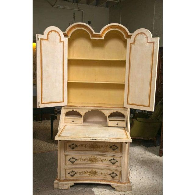 Tan Italian Painted Secretary Desk For Sale - Image 8 of 10