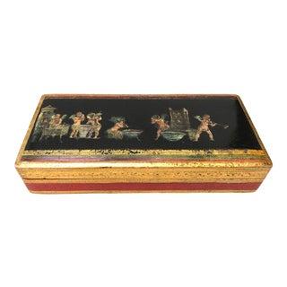 Florentine Large Gilt Box With Pompeiian Decopage Decoration For Sale