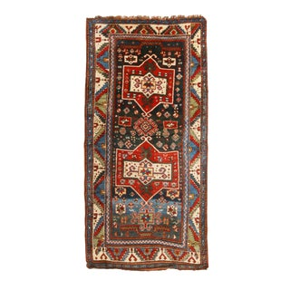 Antique Shirvan Geometric Red and Blue Wool Runner Rug - 3′10″ × 8′3″ For Sale
