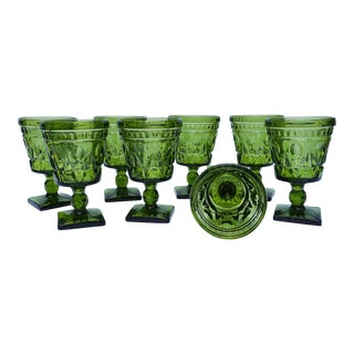 Vintage Indiana Glass Colony Park Lane Green Wine Glasses - Set of 8 For Sale