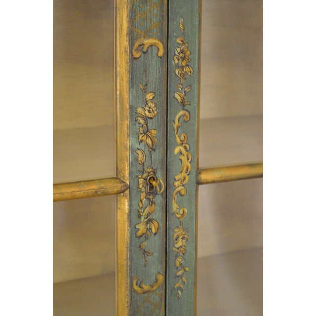 Italian Hand Painted Large Bombe Bookcase Breakfront For Sale - Image 9 of 11