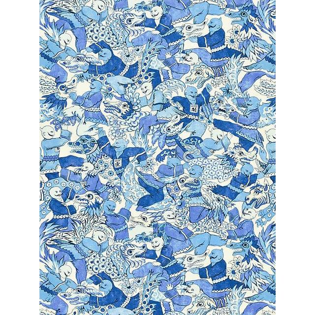 Scalamandre Dragon Dance, Porcelain Fabric For Sale