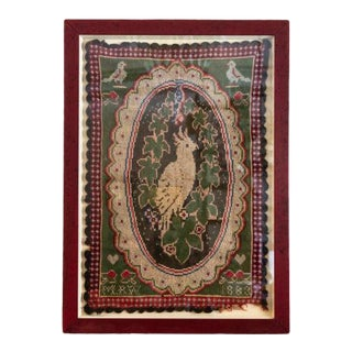 Key West Style Needlepoint Parrot Linen Wall Hanging For Sale
