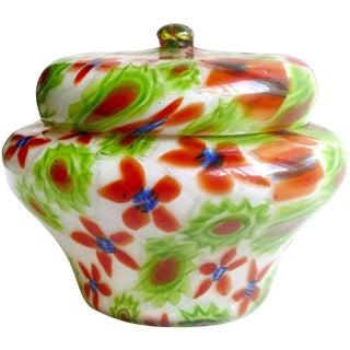 Fratelli Toso Murano Millefiori Flower Mosaic Italian Art Glass Powder Box For Sale