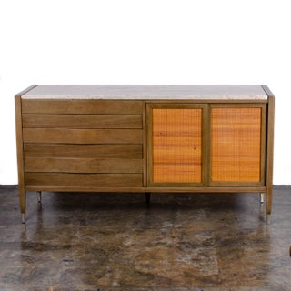 Mid-Century Modern American of Martinsville Travertine Top Credenza Sideboard Preview