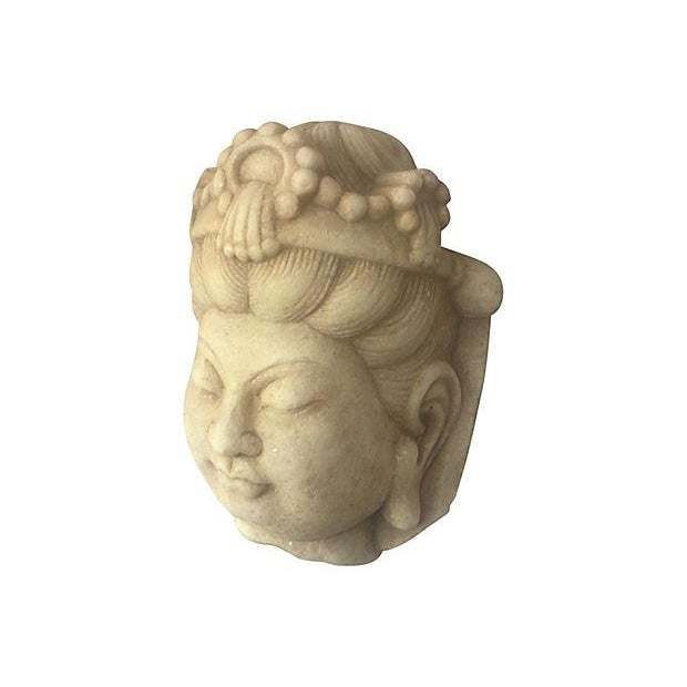 Carved Marble Quan Yin Head - Image 3 of 4