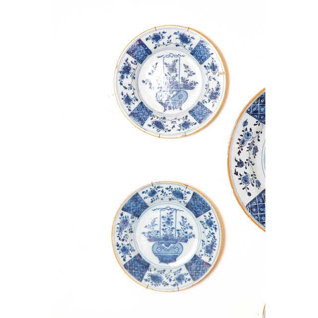 Early 19th Century Chinese Flower Basket / Blue and White Delft Plates / Group of Seven For Sale - Image 5 of 13