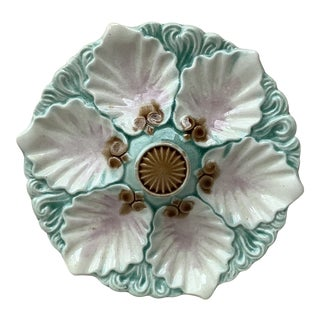 Late 19th Century Majolica Handled Oyster Plate Orchies For Sale