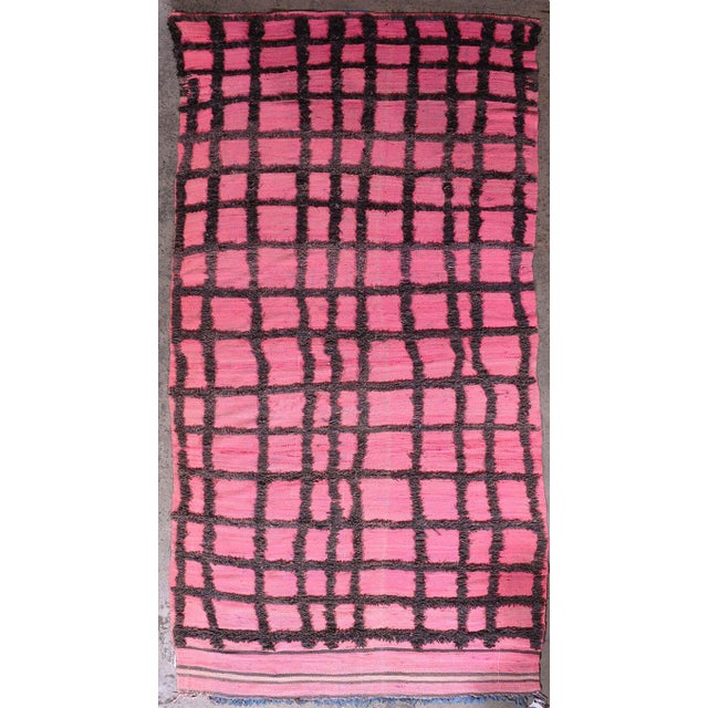 Hand Knotted Pink Geometric Moroccan Rug - 5' X 9' - Image 6 of 6