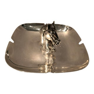 1980s Hermès Style Silver Plate Horse Motif Ashtray/Change Holder For Sale