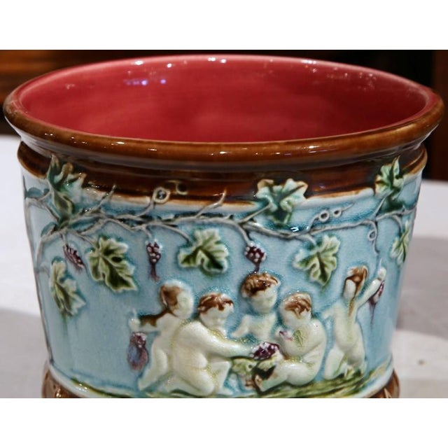 Ceramic 19th Century French Hand-Painted Barbotine Jardiniere & Cachepots - Set of 3 For Sale - Image 7 of 8