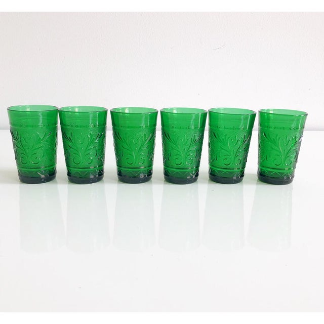 Green Set of Six Vintage 1960s Kelly Green Juice Glasses For Sale - Image 8 of 8