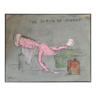 William Anthony Oil and Pencil on Canvas 'The Death of Marat' 1993 For Sale