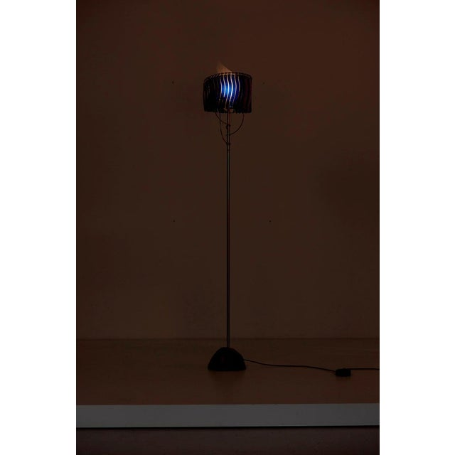 Galvanized floor lamp on brass base, polycarbonate shade with bevelled cathedral glass fantasy. 1 x E27 bulb, max. 150...