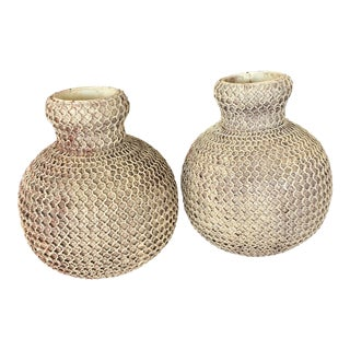 Chain Wrapped Vases - a Pair For Sale