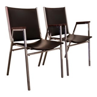 Chrome Industrial Modern Arm Chairs - a Pair For Sale
