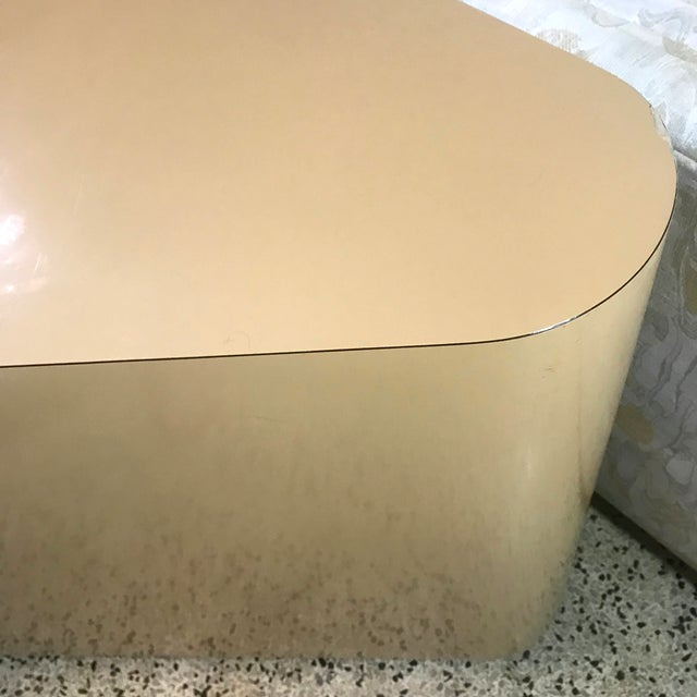 Minimalist Laminate Triangle Console on Casters in the Manner of Milo Baughman For Sale - Image 10 of 11