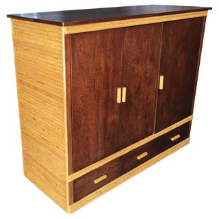 Rattan and Mahogany TV Cabinet with Component Rack or Bar For Sale
