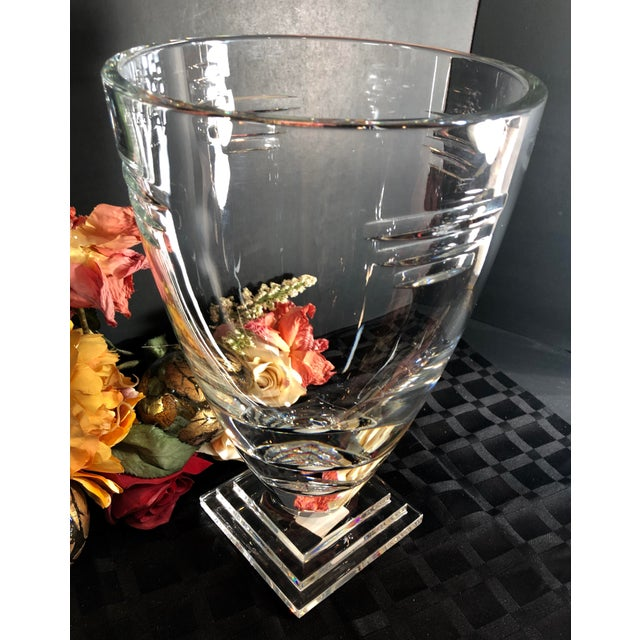 Transparent Waterford Germany Metropolitan Square Foot Vase For Sale - Image 8 of 13