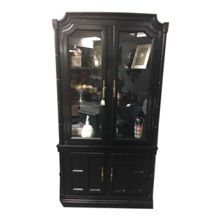 Black Lacquer Bamboo China Hutch For Sale