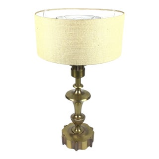 1950s Large Brass Neoclassical Table Lamp With Shade For Sale