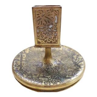 Tiffany Gold Gilt Favrile Art Glass Cigarette Ashtray Match Holder Antique For Sale